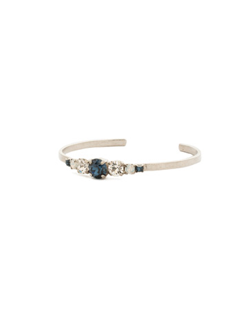 Petite Round Crystal Cuff Bracelet in Antique Silver-tone Glory Blue
