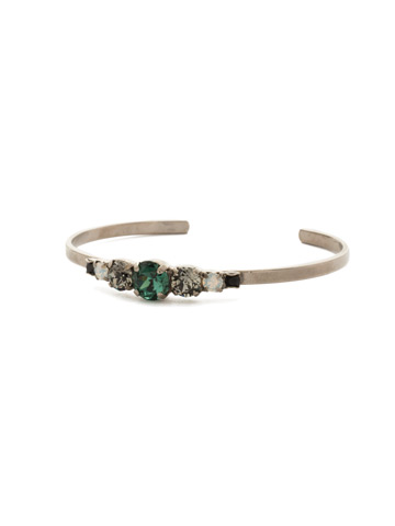 Petite Round Crystal Cuff Bracelet in Antique Silver-tone Game Day Green