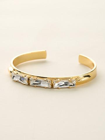Triple Baguette Crystal Cuff Bracelet in Bright Gold-tone Crystal