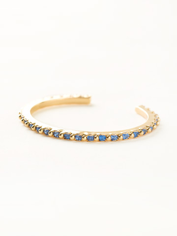 Petite Crystal and Ball Shot Cuff in Bright Gold-tone Sweet Sapphire