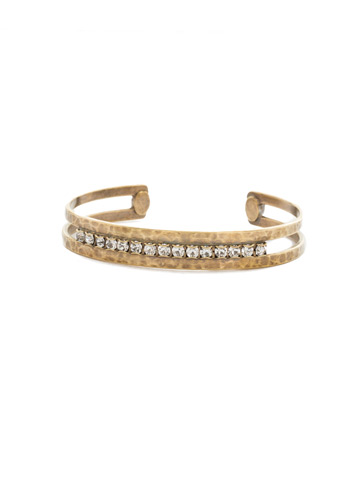 Hammered Metal and Rhinestone Crystal Cuff in Antique Gold-tone Crystal