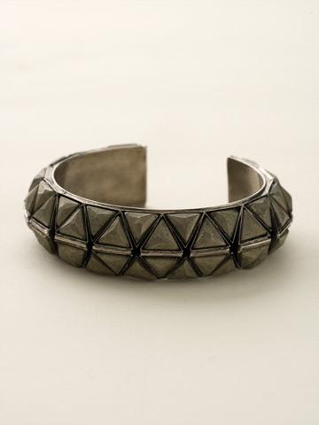 Stacked Semi-Precious Triangle Cuff in Antique Silver-tone Black and White
