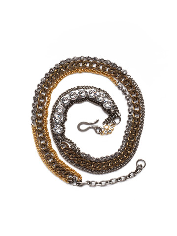 Mixed Metal and Crystal Wrap Bracelet in Mixed Metal Crystal