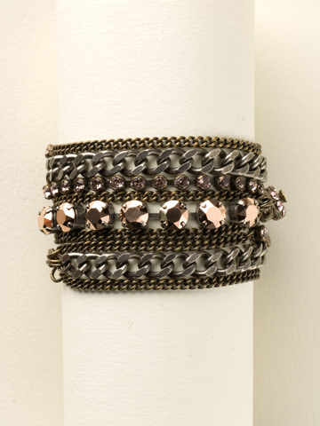 Mixed Metal and Crystal Wrap Bracelet in Mixed Metal Rose Gold