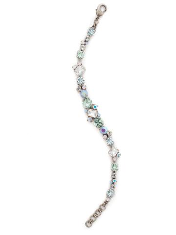 Geo Classic Line Bracelet in Antique Silver-tone Rainbow Quartz
