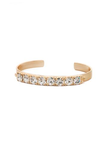 Mesmerizing Round Crystal Cuff in Bright Gold-tone Crystal