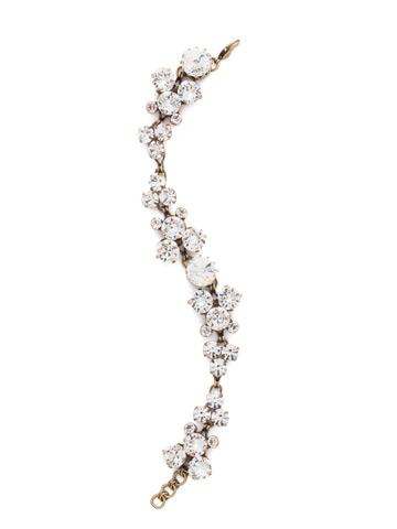 Well-Rounded Crystal Line Bracelet in Antique Gold-tone Crystal