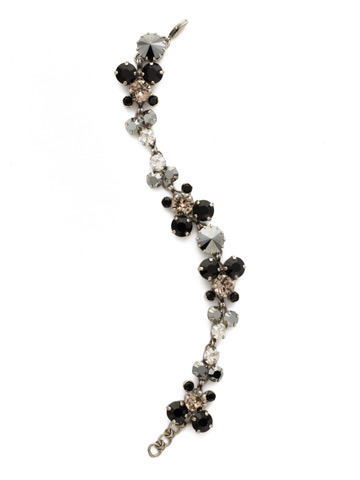 Well-Rounded Crystal Line Bracelet in Antique Silver-tone Black Onyx