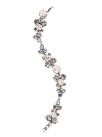 Well-Rounded Crystal Line Bracelet in Antique Silver-tone Crystal Rock