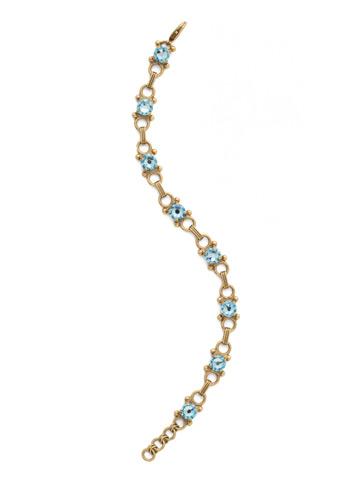Mini Eyelet Line Bracelet in Antique Gold-tone Aquamarine