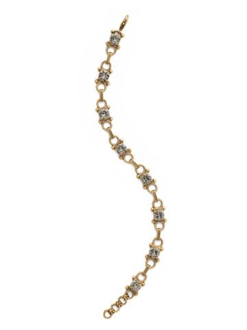 Mini Eyelet Line Bracelet in Antique Gold-tone Black Diamond