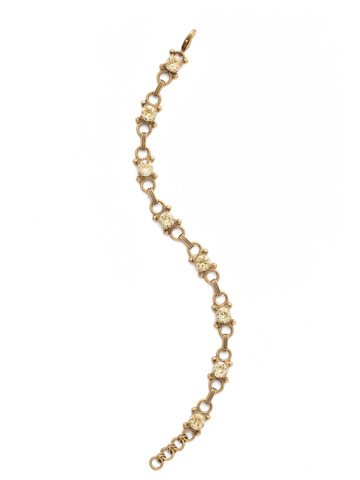 Mini Eyelet Line Bracelet in Antique Gold-tone Crystal Champagne