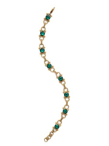 Mini Eyelet Line Bracelet in Antique Gold-tone Emerald