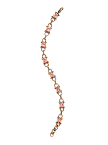 Mini Eyelet Line Bracelet in Antique Gold-tone Pink Peony