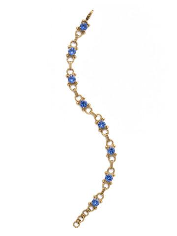 Mini Eyelet Line Bracelet in Antique Gold-tone Sapphire