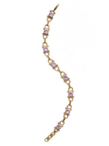 Mini Eyelet Line Bracelet in Antique Gold-tone Violet