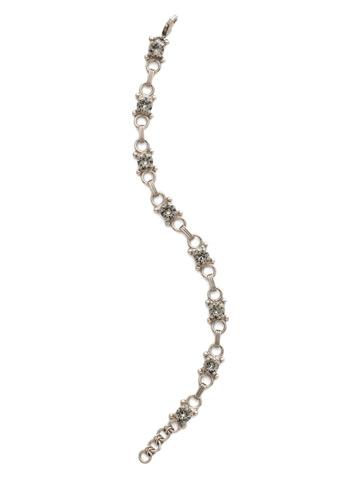 Mini Eyelet Line Bracelet in Antique Silver-tone Black Diamond