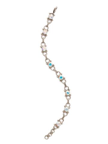 Mini Eyelet Line Bracelet in Antique Silver-tone Crystal Aurora Borealis