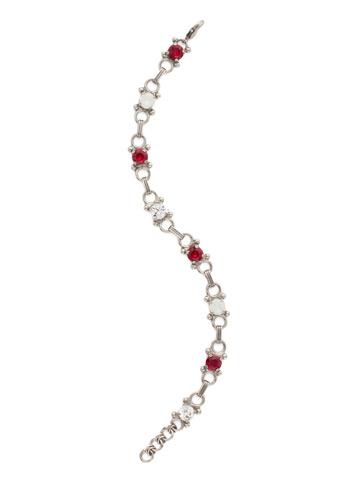 Mini Eyelet Line Bracelet in Antique Silver-tone Crimson Pride