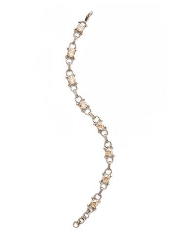 Mini Eyelet Line Bracelet in Antique Silver-tone Dark Champagne