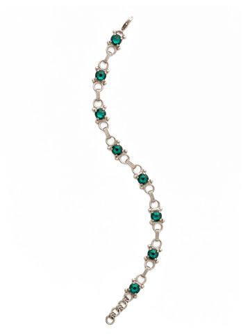 Mini Eyelet Line Bracelet in Antique Silver-tone Emerald