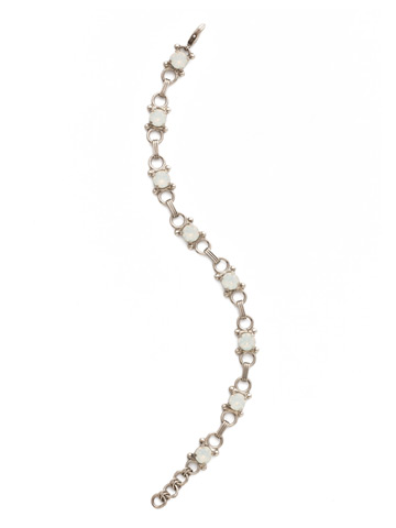 Mini Eyelet Line Bracelet in Antique Silver-tone White Opal