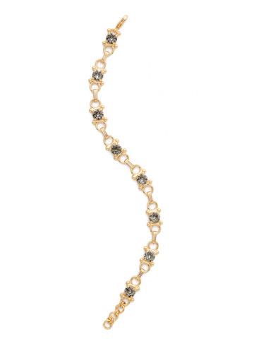 Mini Eyelet Line Bracelet in Bright Gold-tone Black Diamond