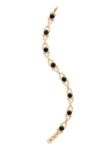 Mini Eyelet Line Bracelet in Bright Gold-tone Jet