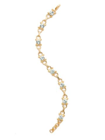 Mini Eyelet Line Bracelet in Bright Gold-tone Light Aqua