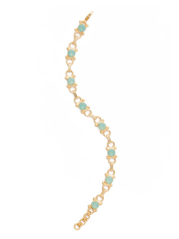 Mini Eyelet Line Bracelet in Bright Gold-tone Pacific Opal