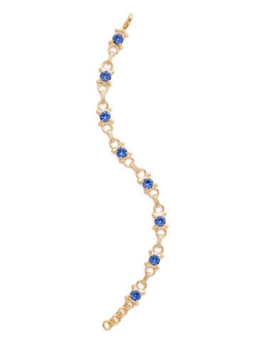 Mini Eyelet Line Bracelet in Bright Gold-tone Sapphire