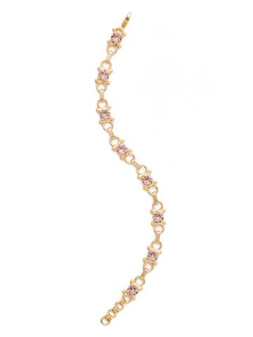Mini Eyelet Line Bracelet in Bright Gold-tone Vintage Rose