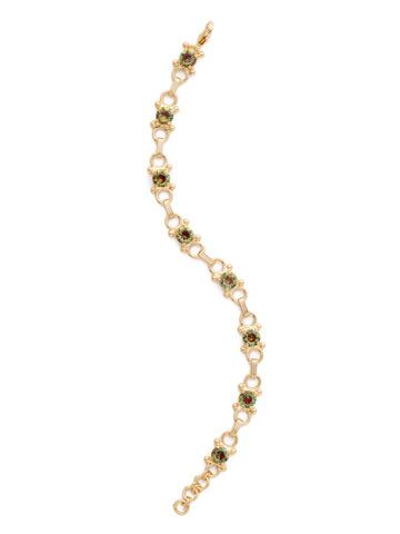 Mini Eyelet Line Bracelet in Bright Gold-tone Volcano