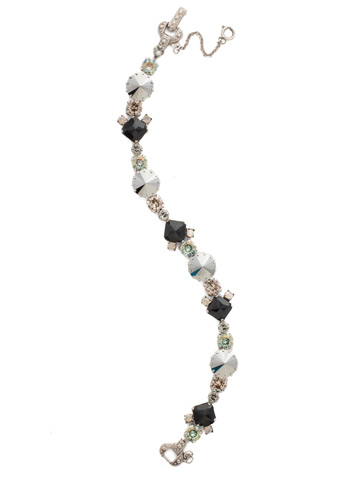 Gingham Classic Line Bracelet in Antique Silver-tone Black Onyx