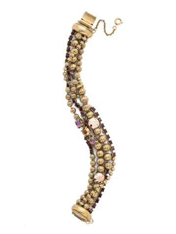 Ball and Chain Bracelet in Antique Gold-tone Mahogany