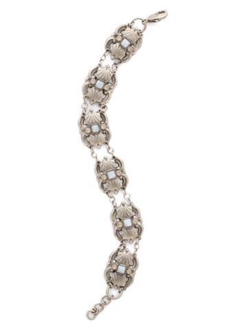 Antique Scalloped Line Bracelet in Antique Silver-tone Pebble Blue