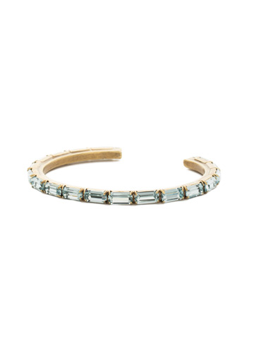 Brilliant Baguette Cuff in Antique Gold-tone Aquamarine