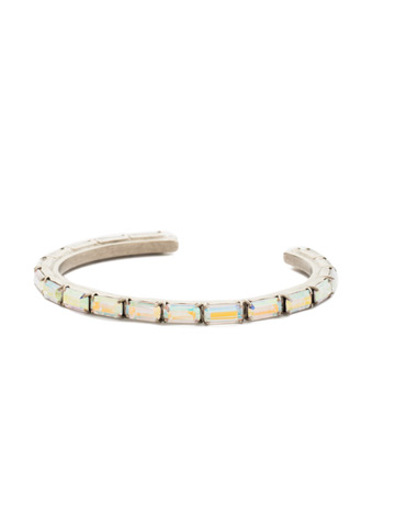 Brilliant Baguette Cuff in Antique Silver-tone Crystal Aurora Borealis