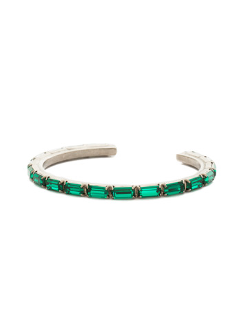 Brilliant Baguette Cuff in Antique Silver-tone Emerald