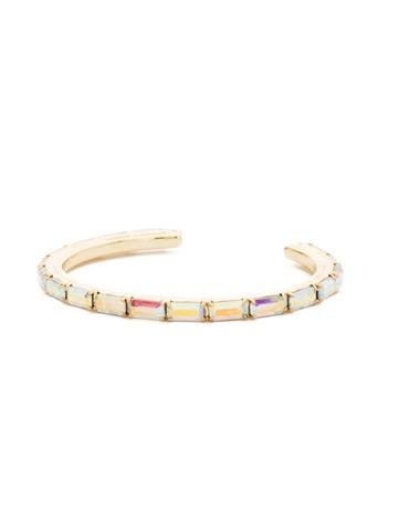 Brilliant Baguette Cuff in Bright Gold-tone Crystal Aurora Borealis