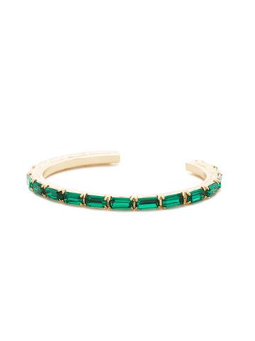 Brilliant Baguette Cuff in Bright Gold-tone Emerald