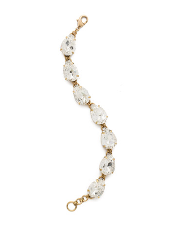 Romantic Teardrop Line Bracelet in Antique Gold-tone Crystal