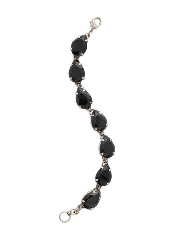 Romantic Teardrop Line Bracelet in Antique Silver-tone Black Onyx