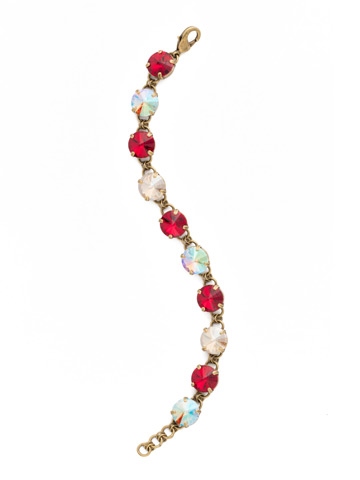 Simply Sophisticated Line Bracelet in Antique Gold-tone Go Garnet