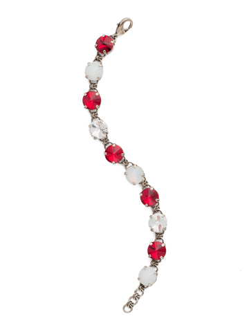 Simply Sophisticated Line Bracelet in Antique Silver-tone Crimson Pride