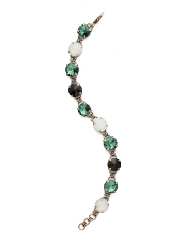 Simply Sophisticated Line Bracelet in Antique Silver-tone Game Day Green