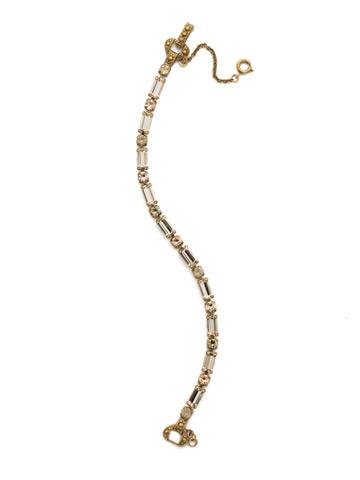 Line and Dot Line Bracelet in Antique Gold-tone Sandstone