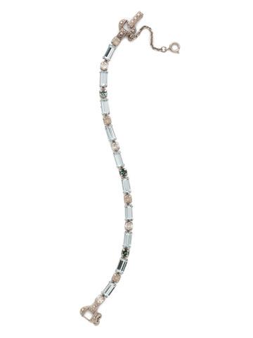 Line and Dot Line Bracelet in Antique Silver-tone Pebble Blue