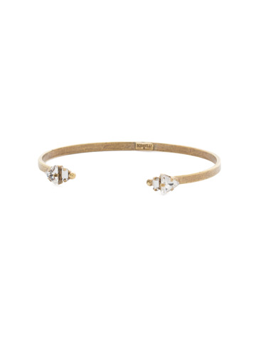 Open Ended Cuff Bracelet in Antique Gold-tone Crystal
