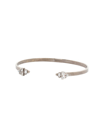 Open Ended Cuff Bracelet in Antique Silver-tone Crystal